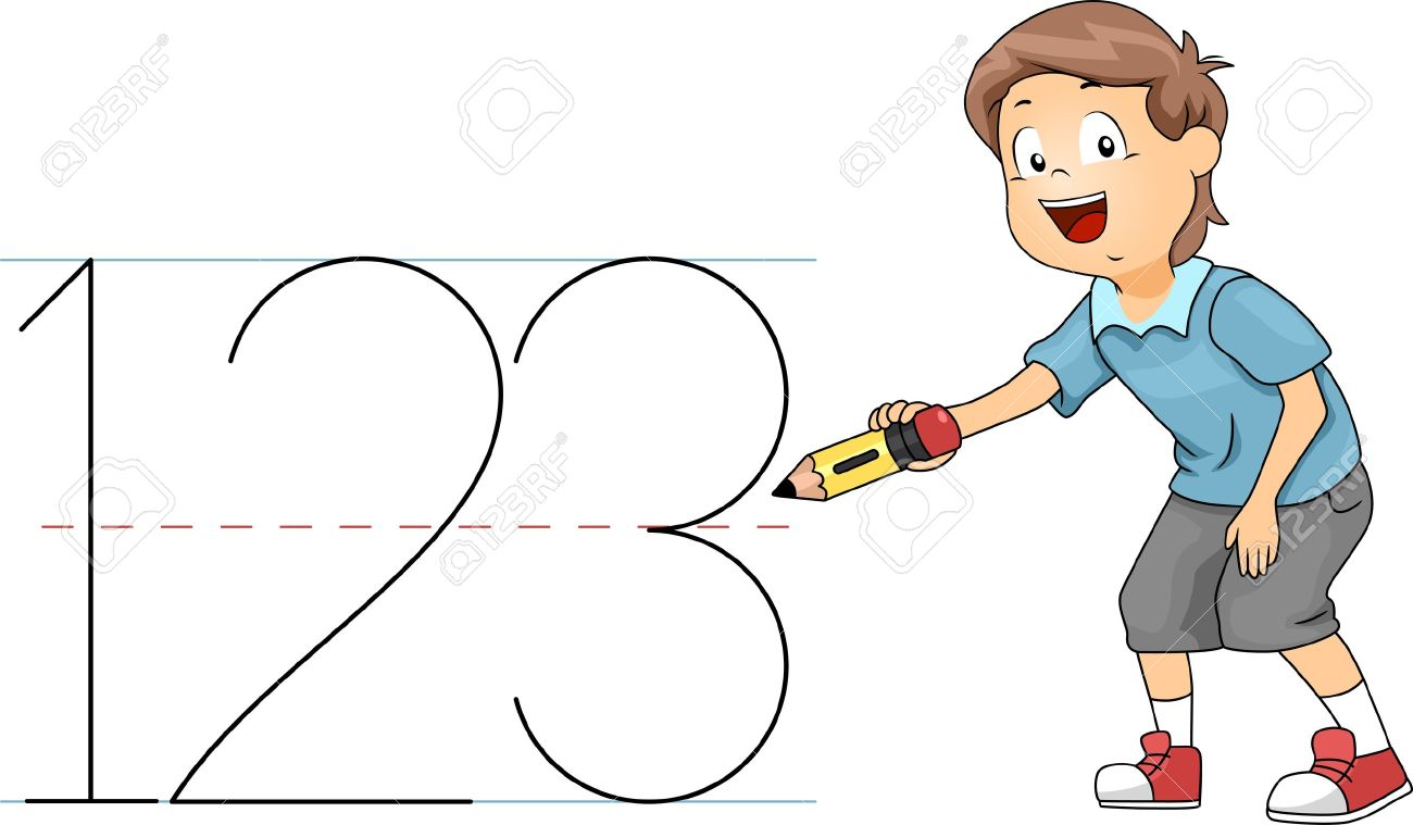 Illustration Of A Kid Writing Numbers Stock Photo, Picture And ...