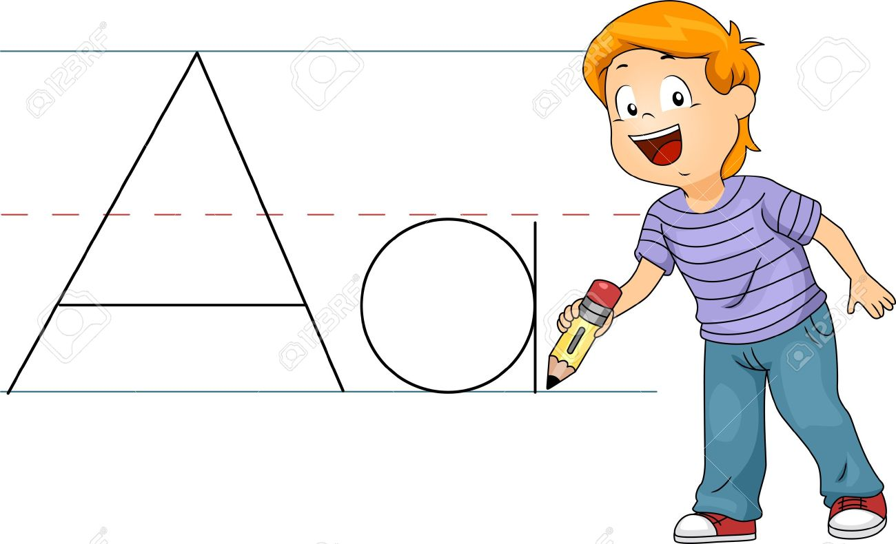 Illustration of a Kid Writing Letters Stock Photo - 10327121
