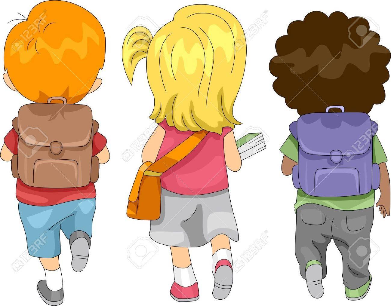 Illustration of Kids Going to School Stock Photo - 10433033