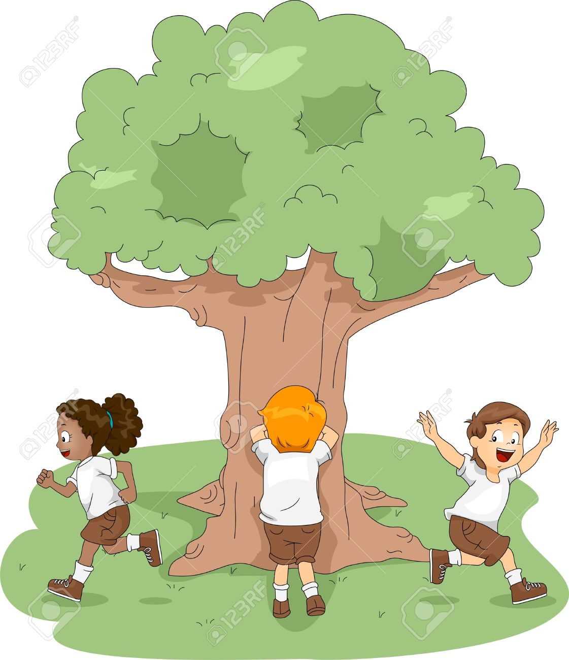 Illustration Of Kids Playing Hide And Seek At Camp Stock Photo  # Hide & Seek Muebles