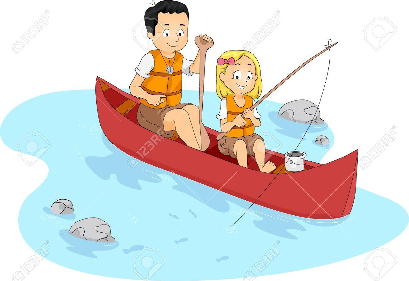 Illustration Of A Kid Fishing With Her TeacherCounselor