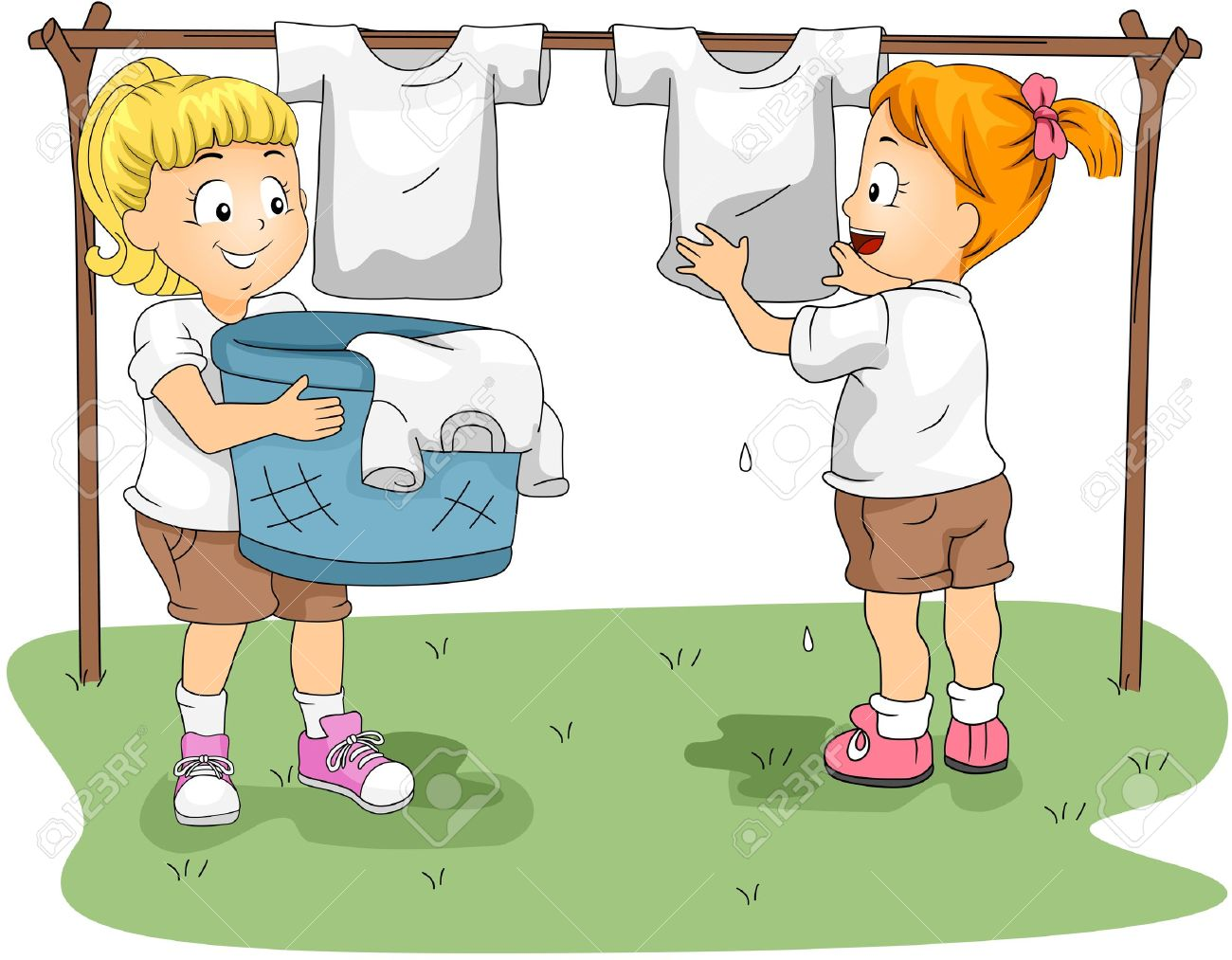 Illustration of Kids Hanging Clothes to Dry Stock Photo - 10610247