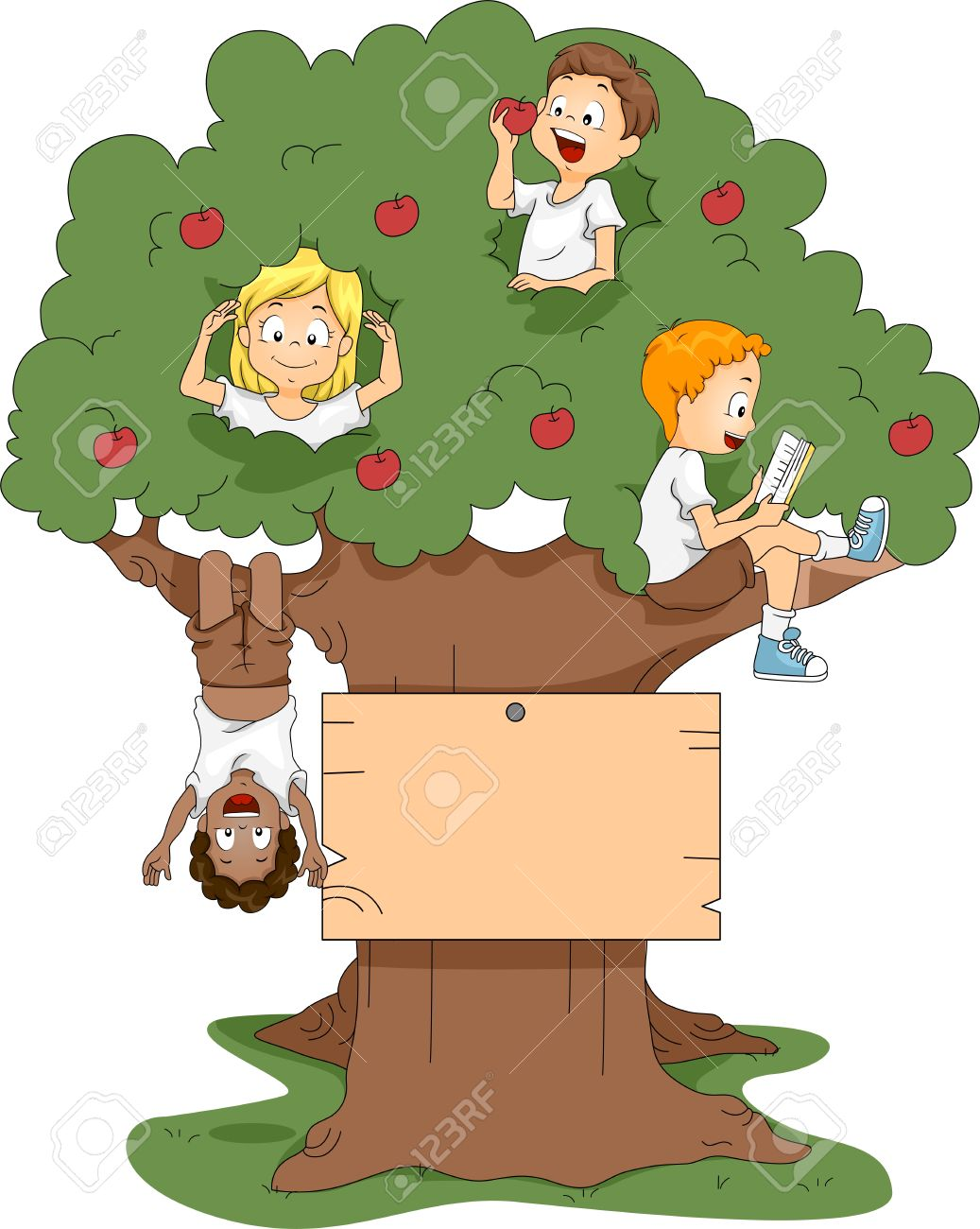 illustration of kids playing in a tree stock photo picture and
