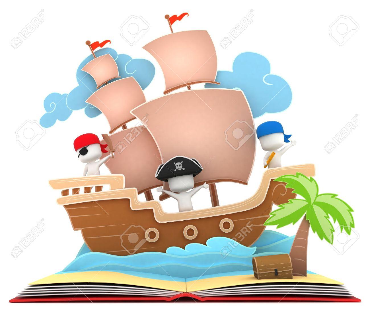 Foto de archivo - Ilustración 3D de niños jugando en un barco pirata en un  libro Popup 9b81e74781e