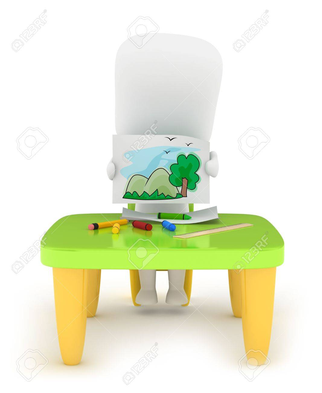 3D Illustration of a Kid Showing His Drawing Stock Photo - 10726465