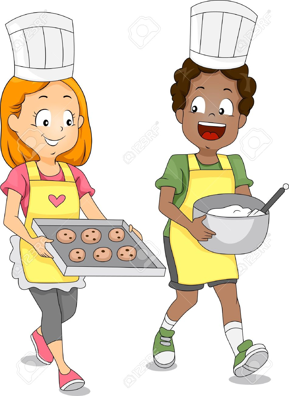 cooking cartoon illustration of kids baking cookies stock photo - Cartoon Kid Images