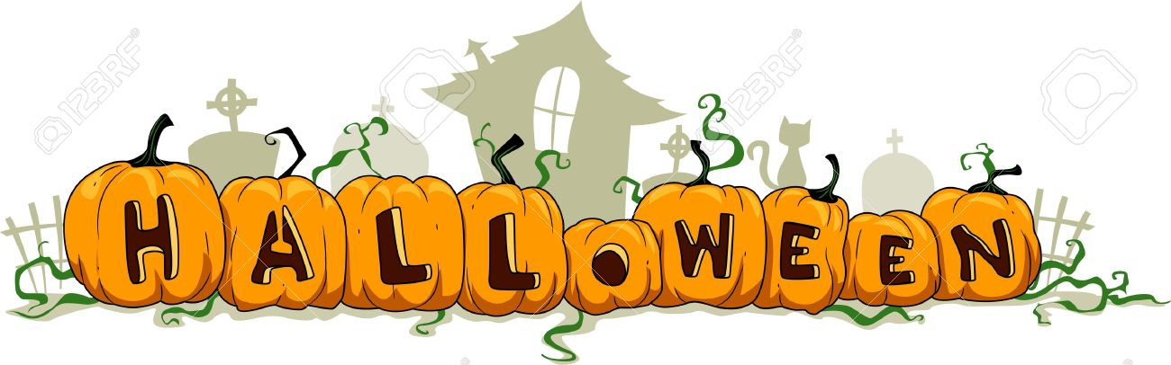 illustration of pumpkins forming the word halloween stock photo