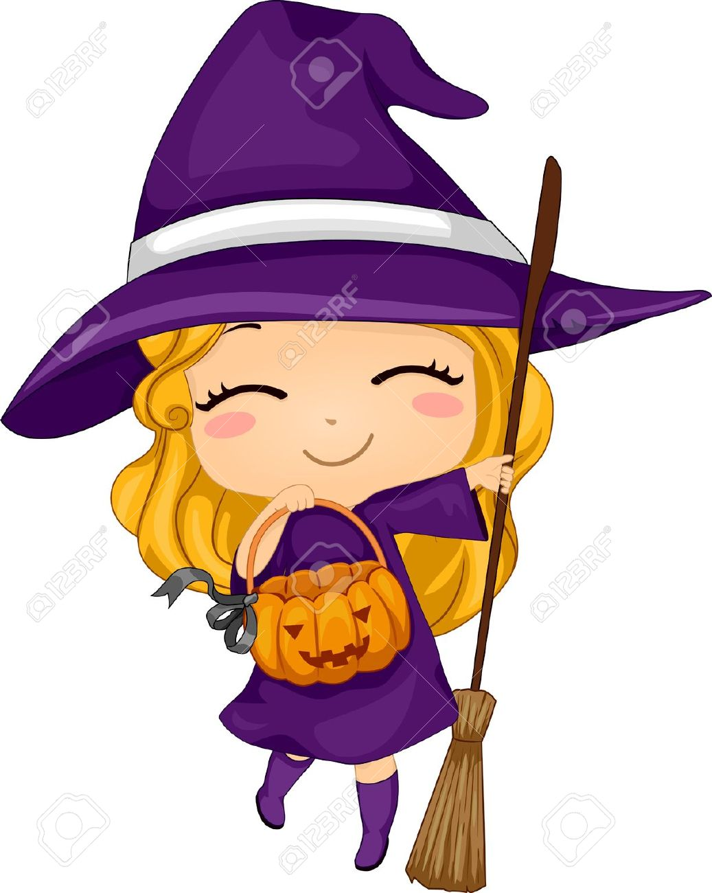 cartoon witch illustration of a kid dressed as a witch - Halloween Witch Cartoon