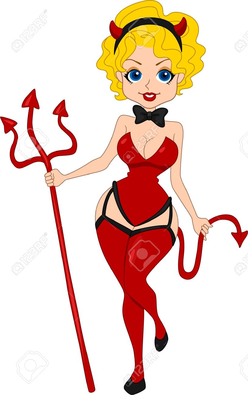 illustration of a pinup girl dressed as a devil stock photo picture