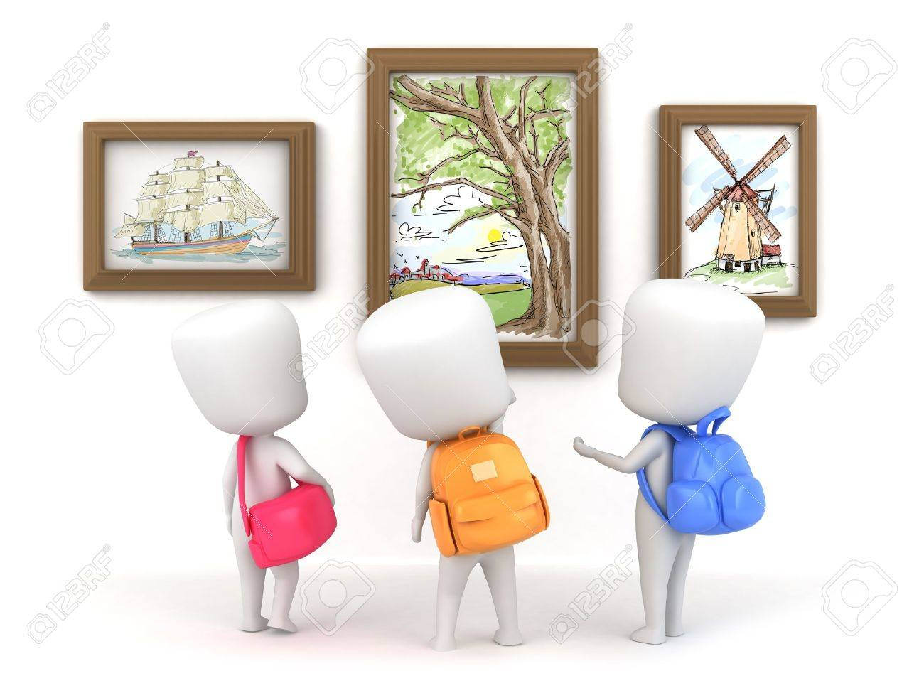 3d illustration of kids in an art museum stock photo picture and
