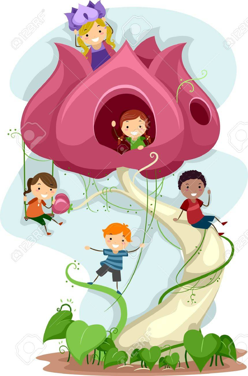 Illustration of Kids Playing in a Giant Flower Stock Illustration - 10901654