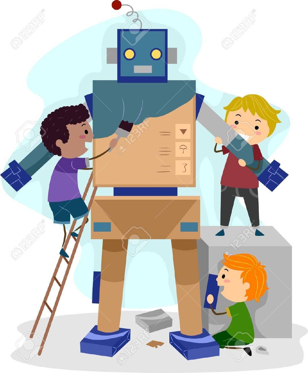 Illustration of Kids Building a Robot Stock Photo - 11197736