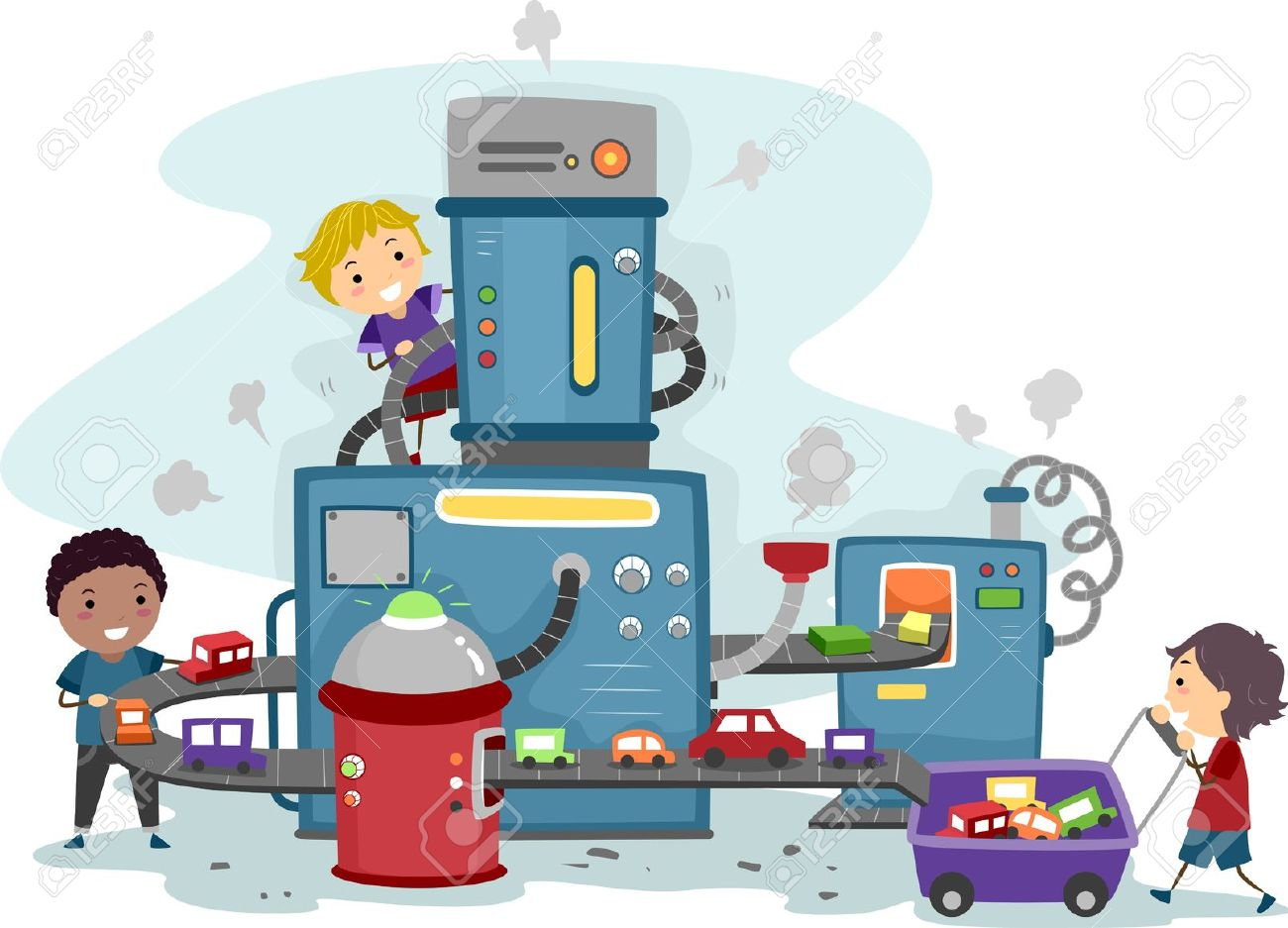 Illustration of Kids Playing in a Toy Car Factory Stock Illustration - 11197737