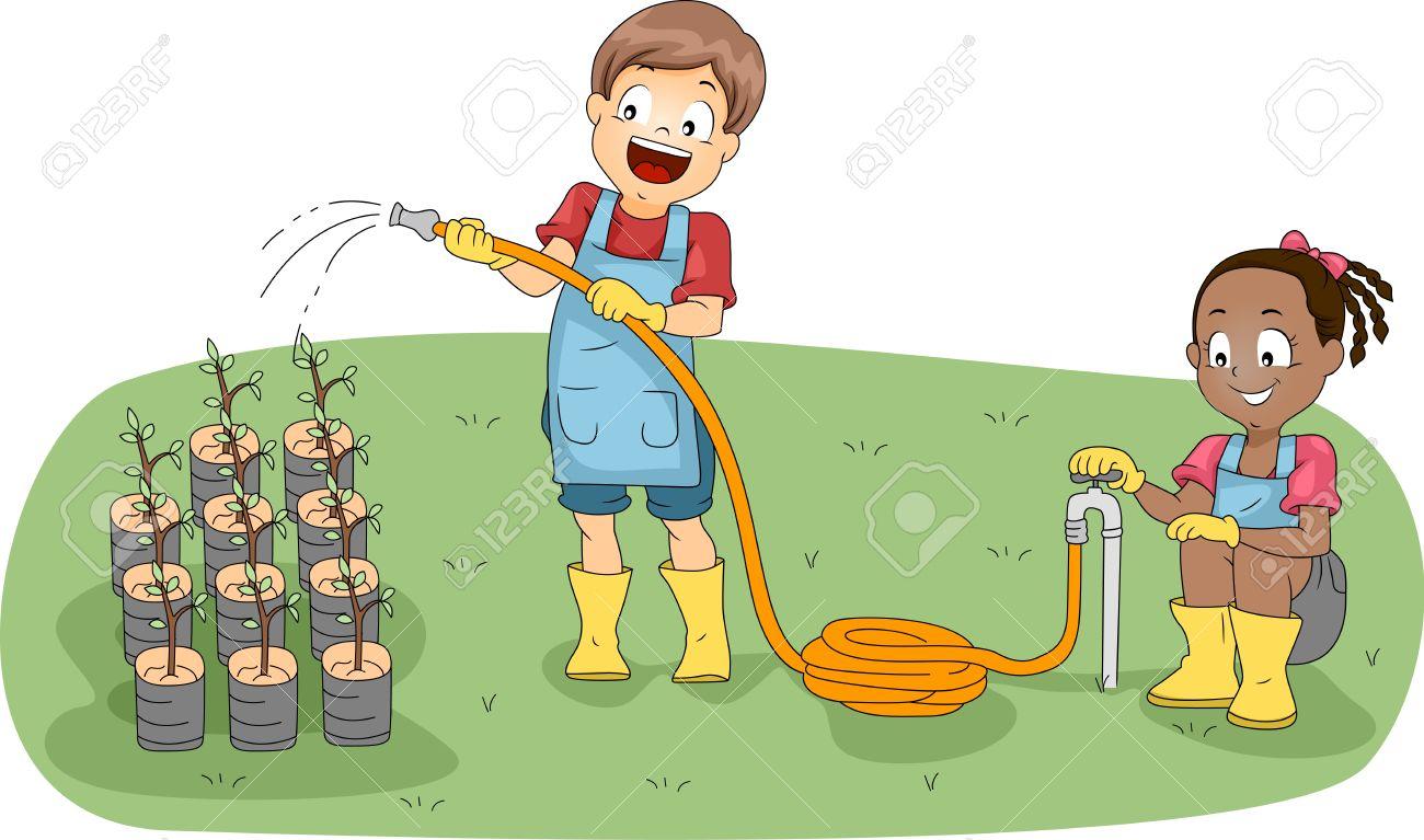 Illustration of Kids Watering Plants Stock Illustration - 11197753