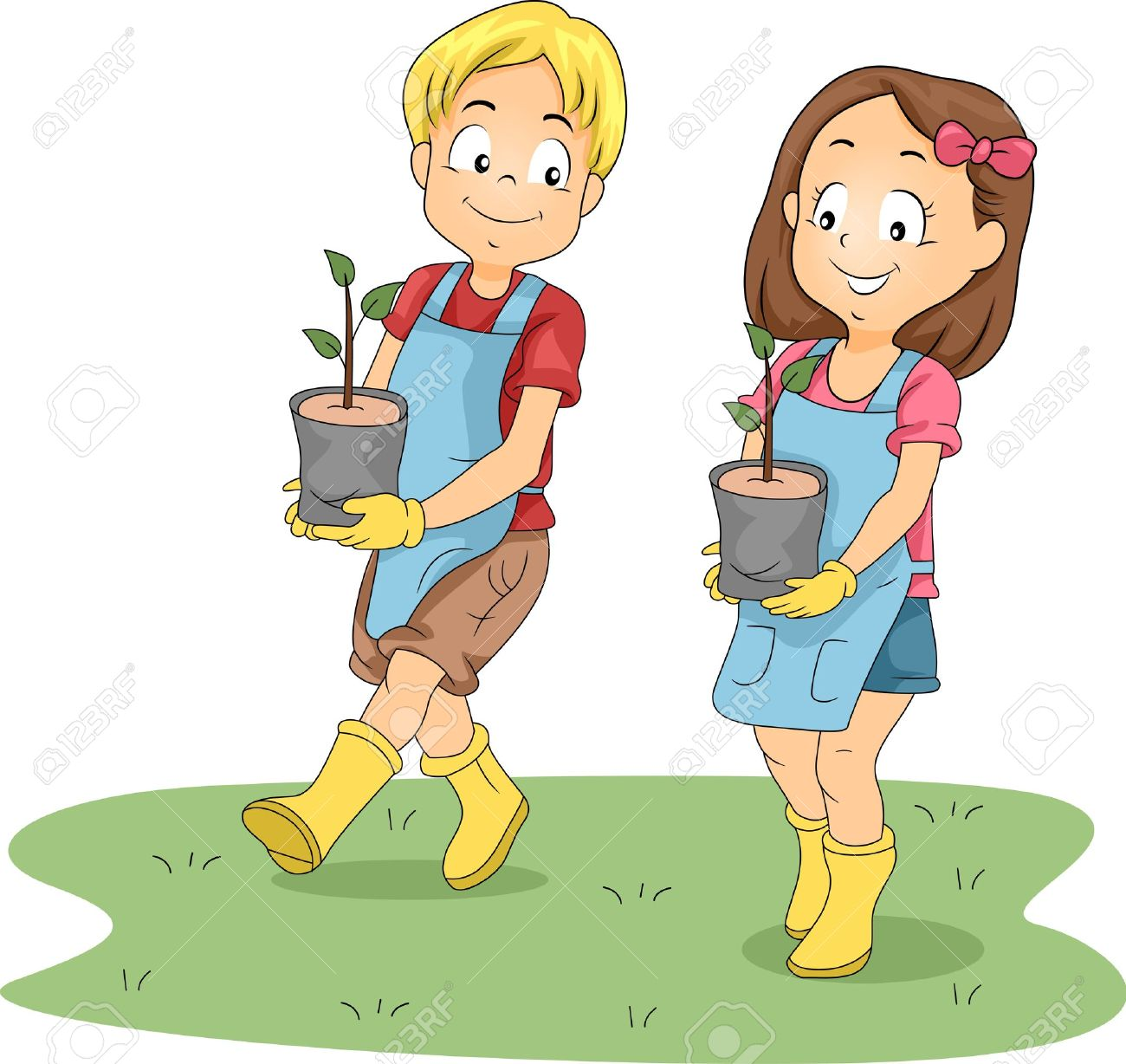 illustration of kids carrying seedlings stock photo picture and