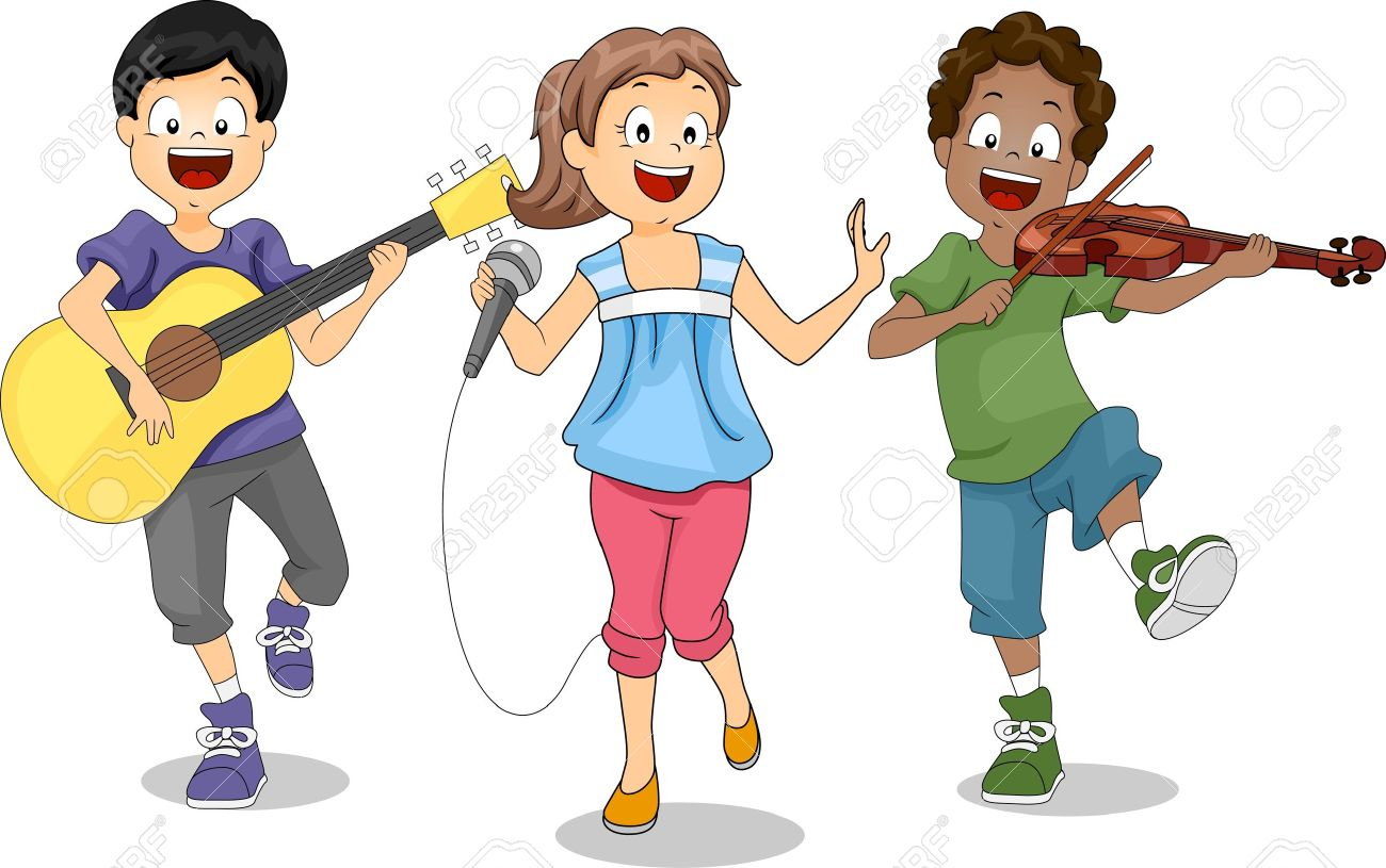 musician cartoon illustration of kids demonstrating their talents stock photo - Cartoon Picture Of Children