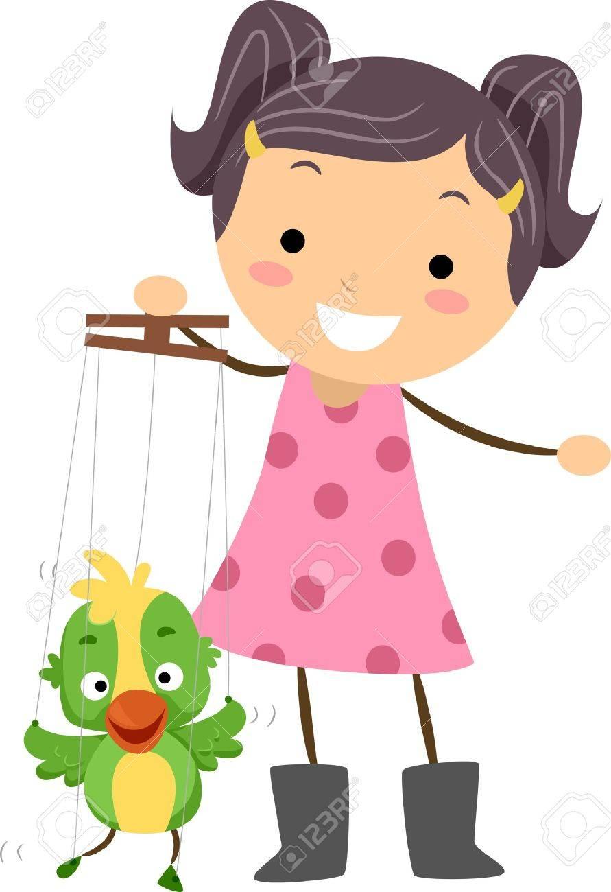 Illustration of a Little Puppeteer Manipulating Her Puppet Stock Illustration - 11197710