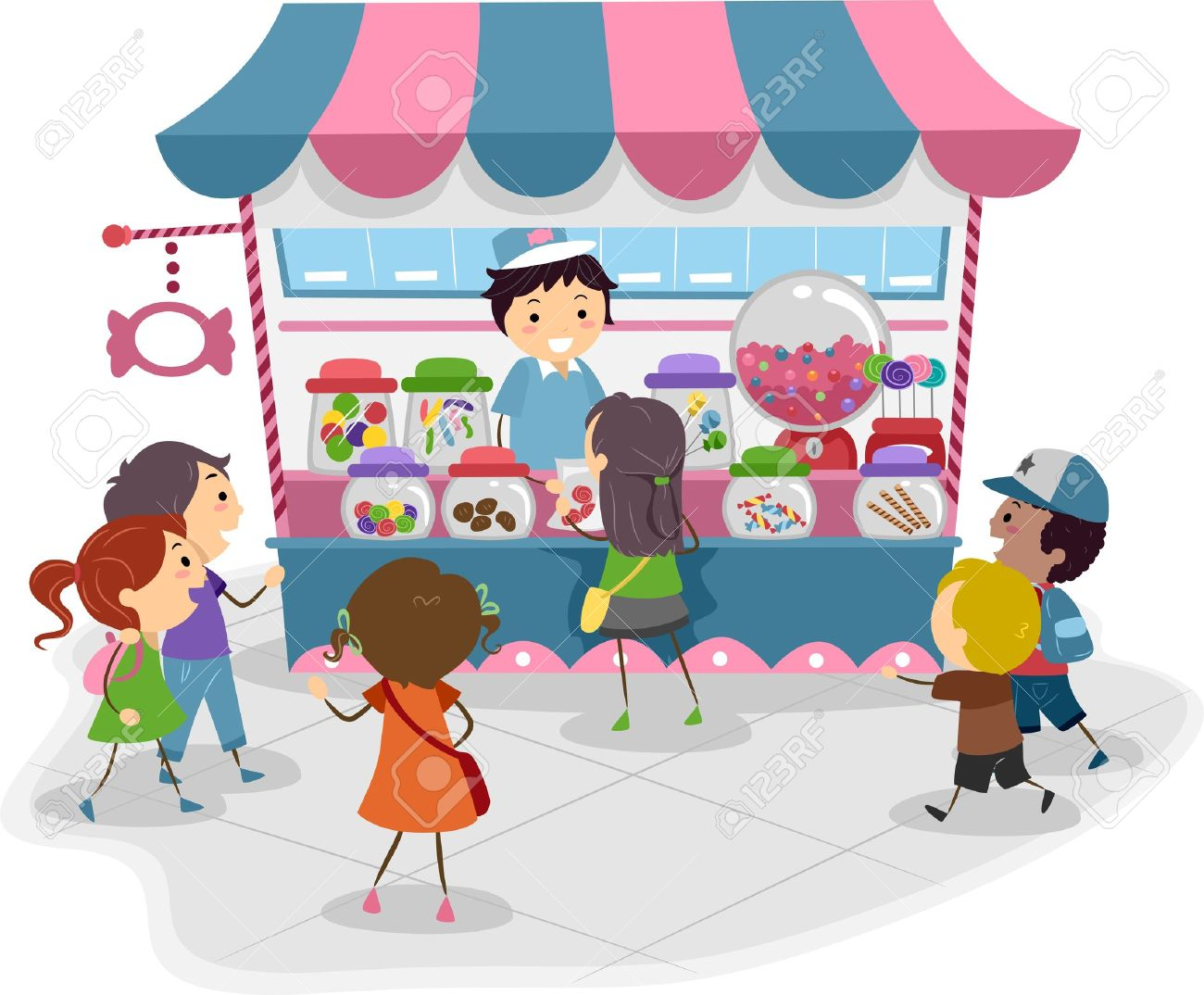 Illustration of Kids Heading to a Candy Store Stock Illustration - 11197759