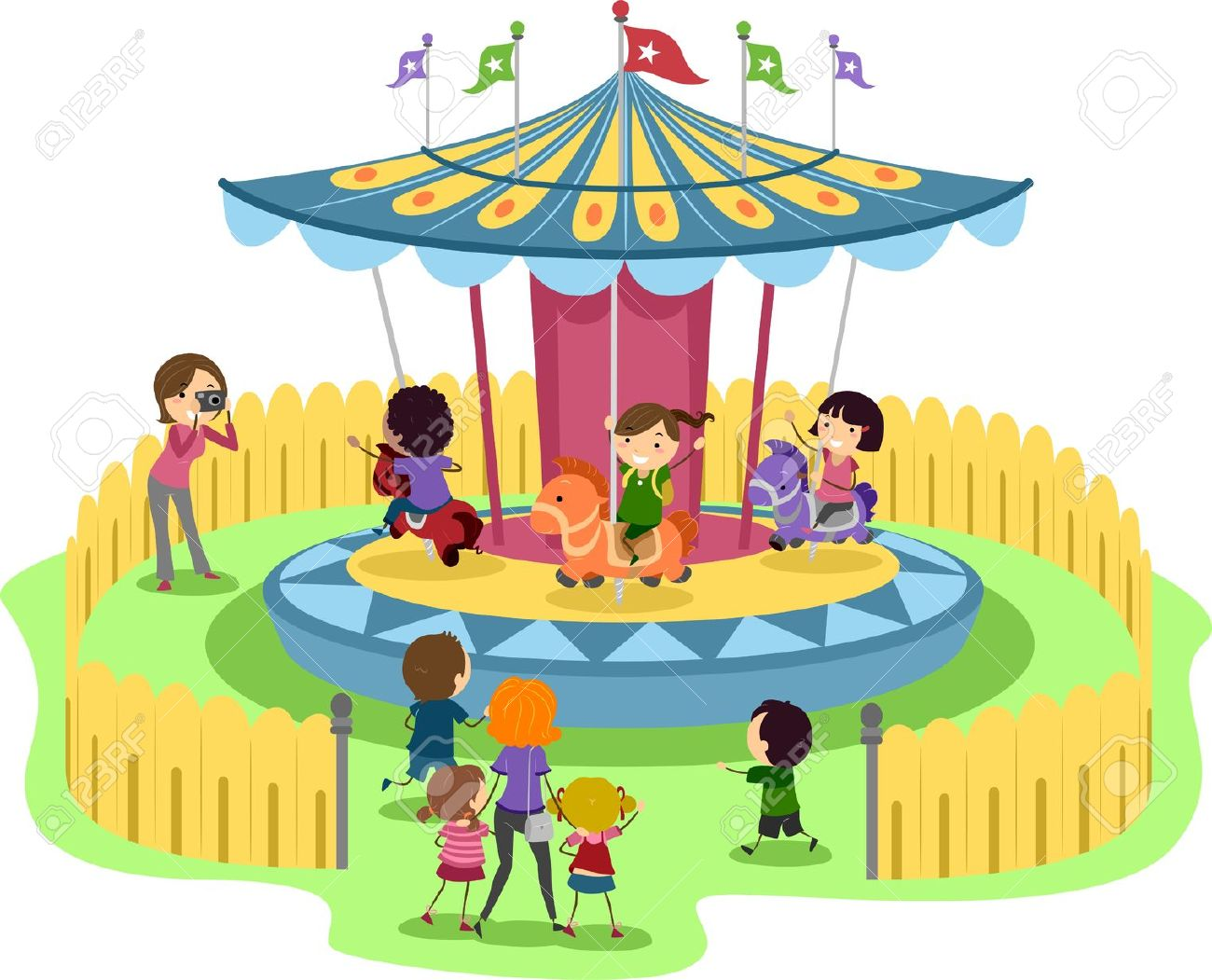 Illustration Of Kids Riding A Merry-Go-Round Stock Photo, Picture ...