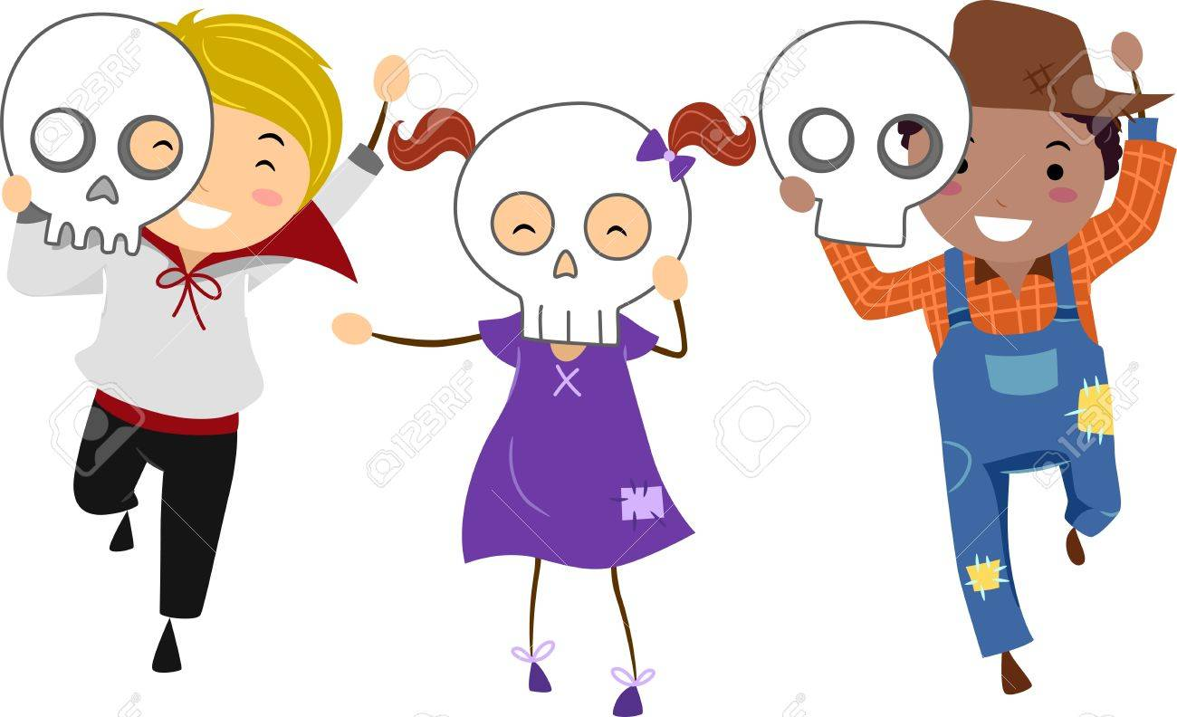 Illustration Of Kids Wearing Halloween Masks Stock Photo, Picture ...