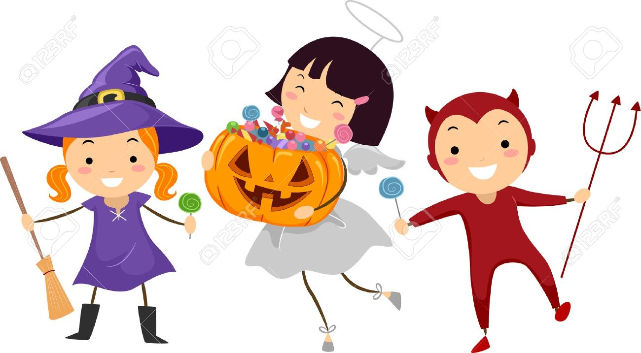 illustration of kids trick or treating stock photo picture and rh 123rf com