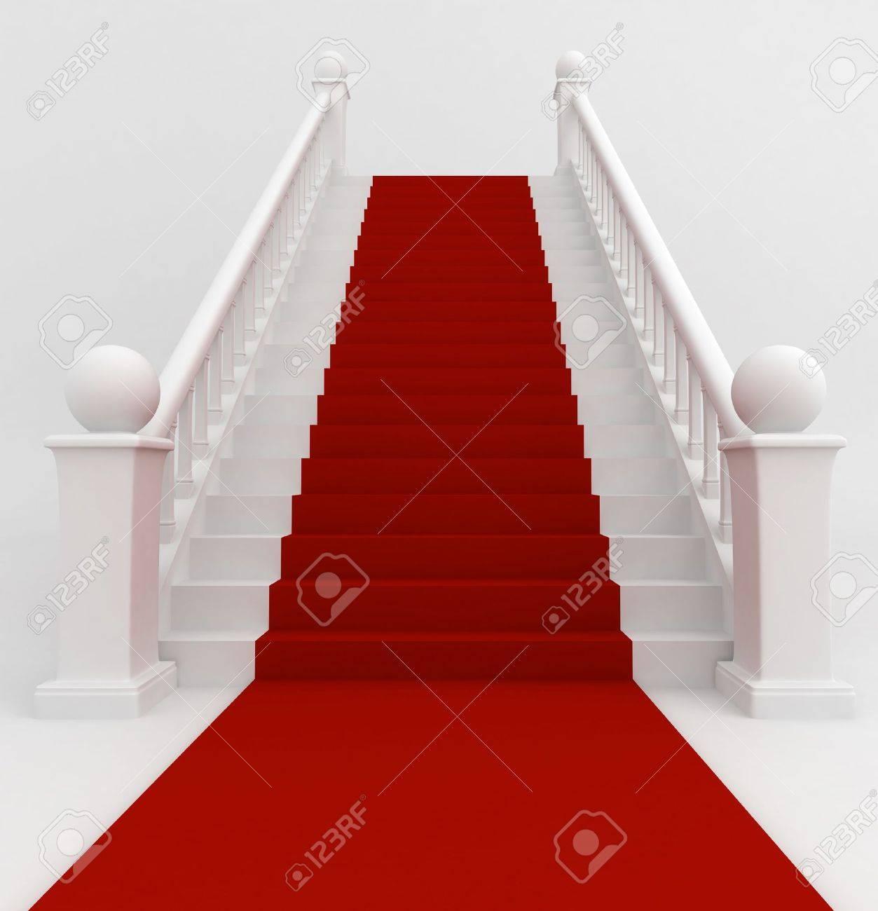 Ilustración 3D De Una Escalera Cubierta Con Alfombra Roja