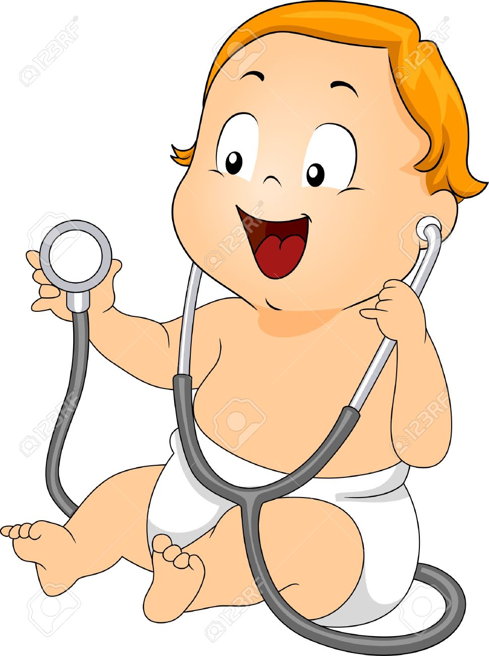 illustration of a baby playing with a stethoscope stock photo rh 123rf com pediatrician clipart