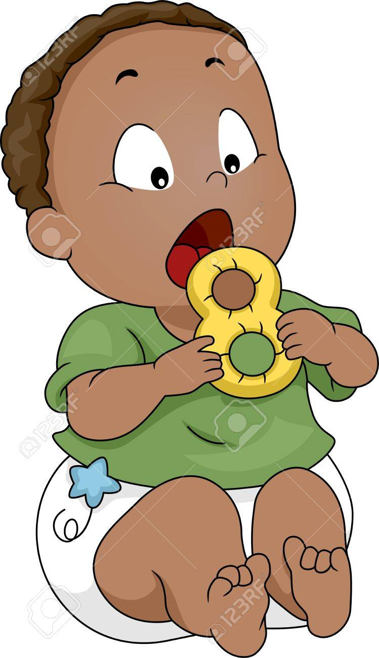 Illustration Of A Baby Putting A Teether Into His Mouth Stock ...