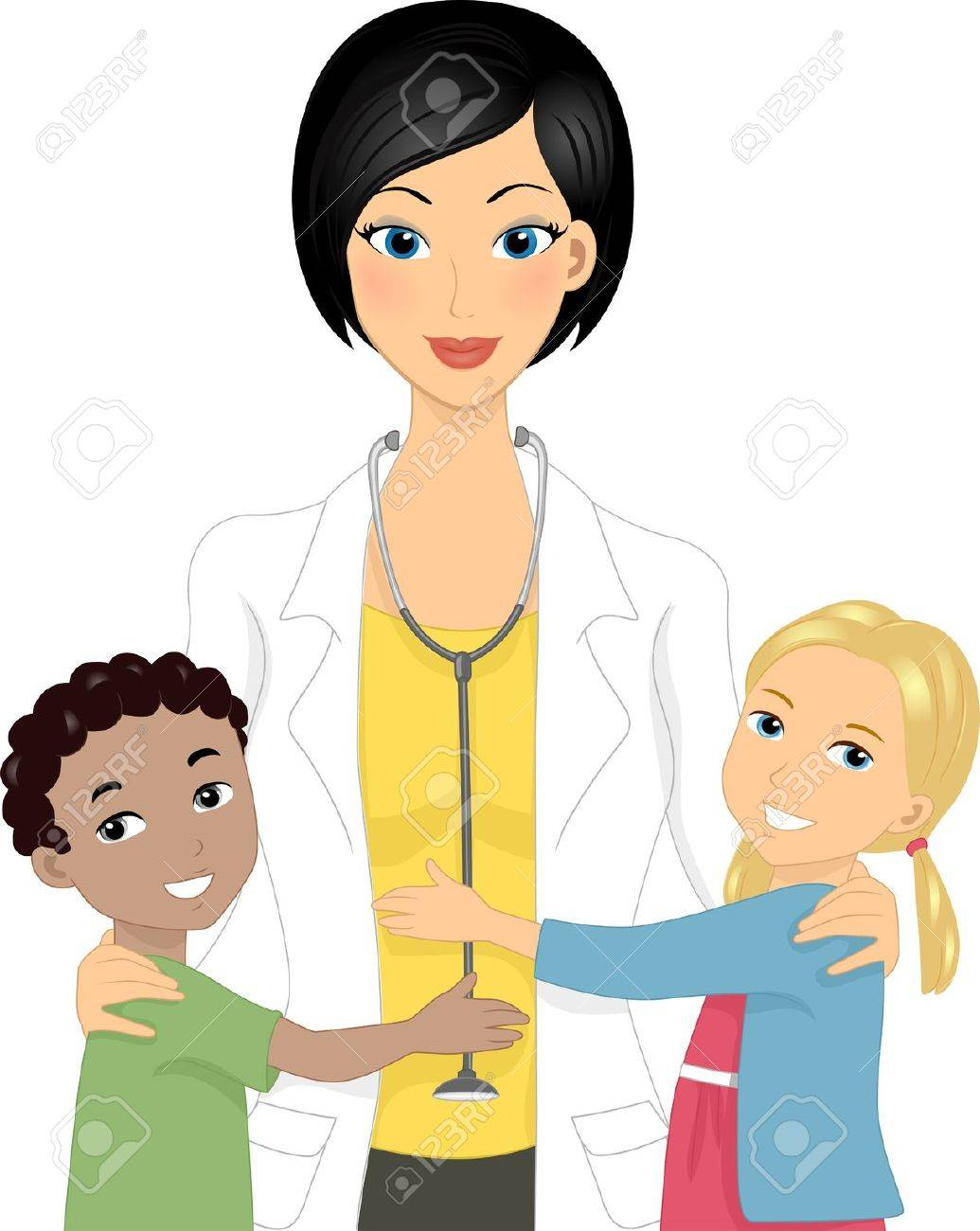 Illustration of a Doctor with Kids Stock Illustration - 11330168