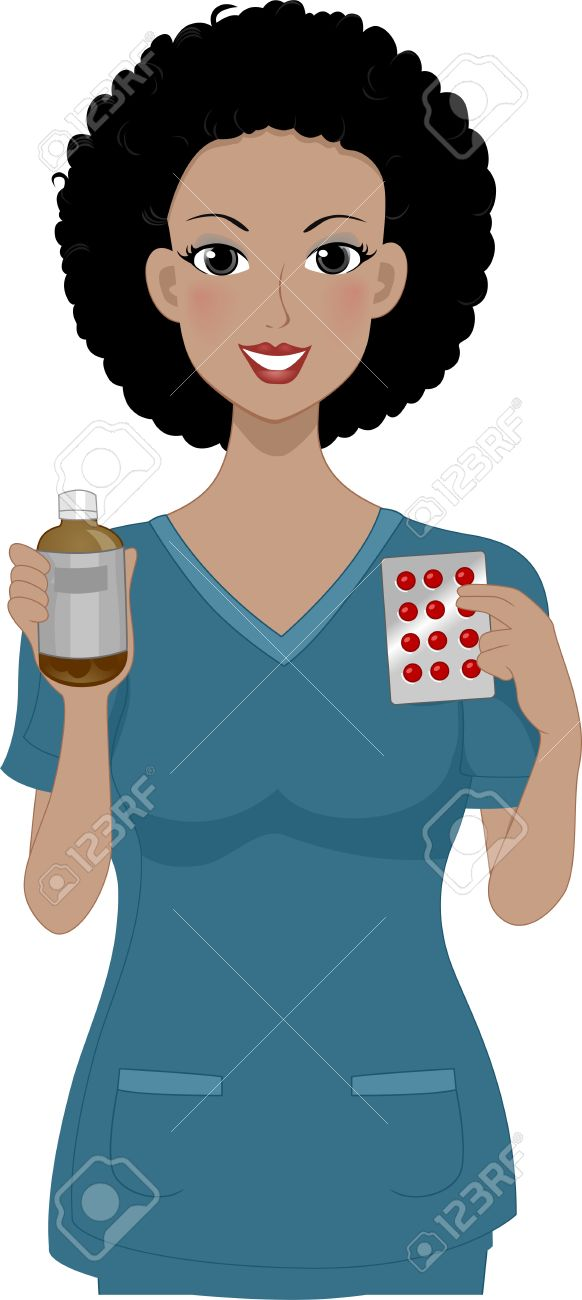 Illustration of a Girl Holding Some Medicine Stock Photo - 11328451