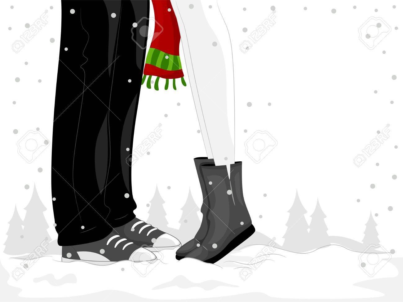 男にキスしている女性とカップルの足のイラスト ロイヤリティーフリー