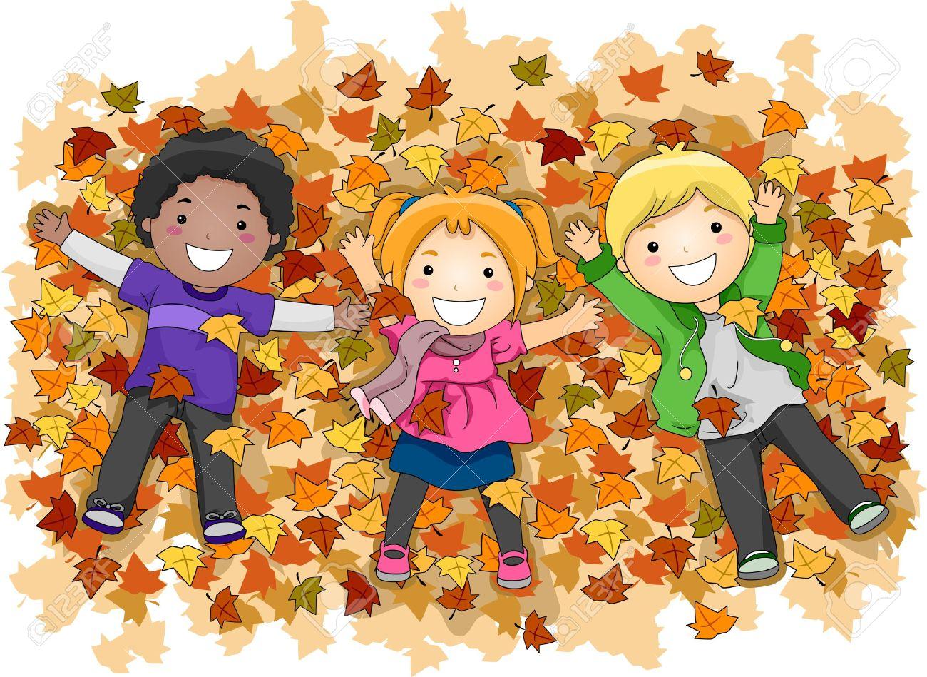 Image result for fall leaves children jumping banner
