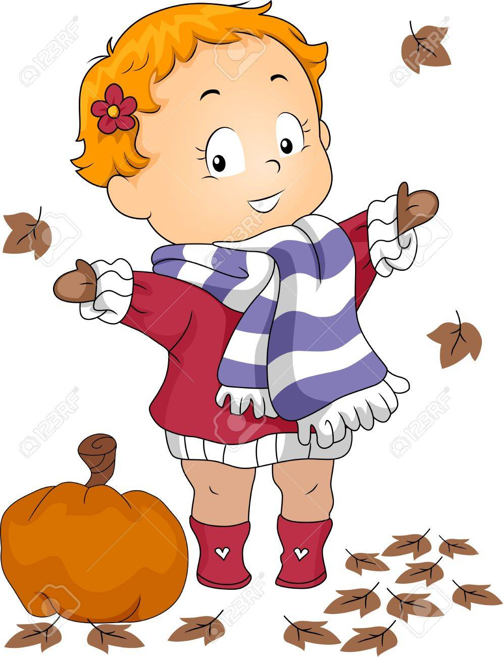 illustration of a baby playing with autumn leaves stock photo
