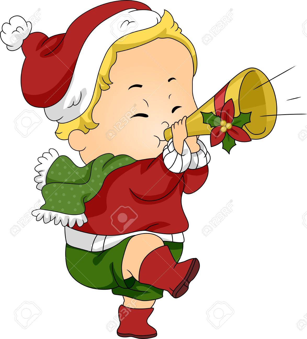 Christmas Trumpet Images.Stock Illustration