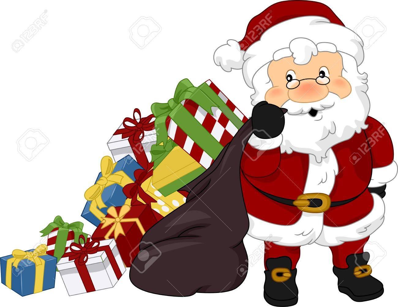 Illustration of Santa Claus Carrying Christmas Presents Stock Illustration - 11378369