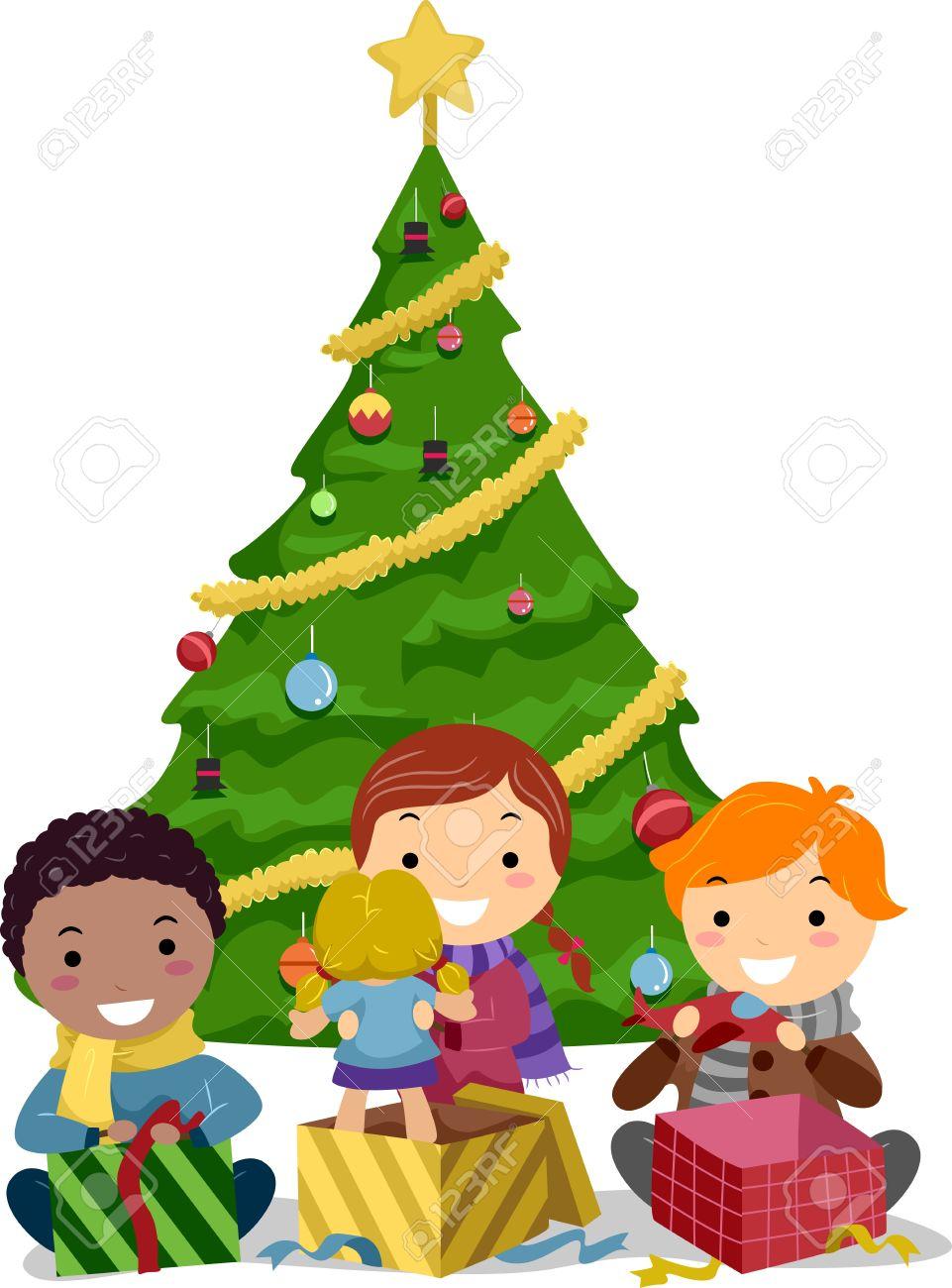Image result for cartoon kids christmas tree