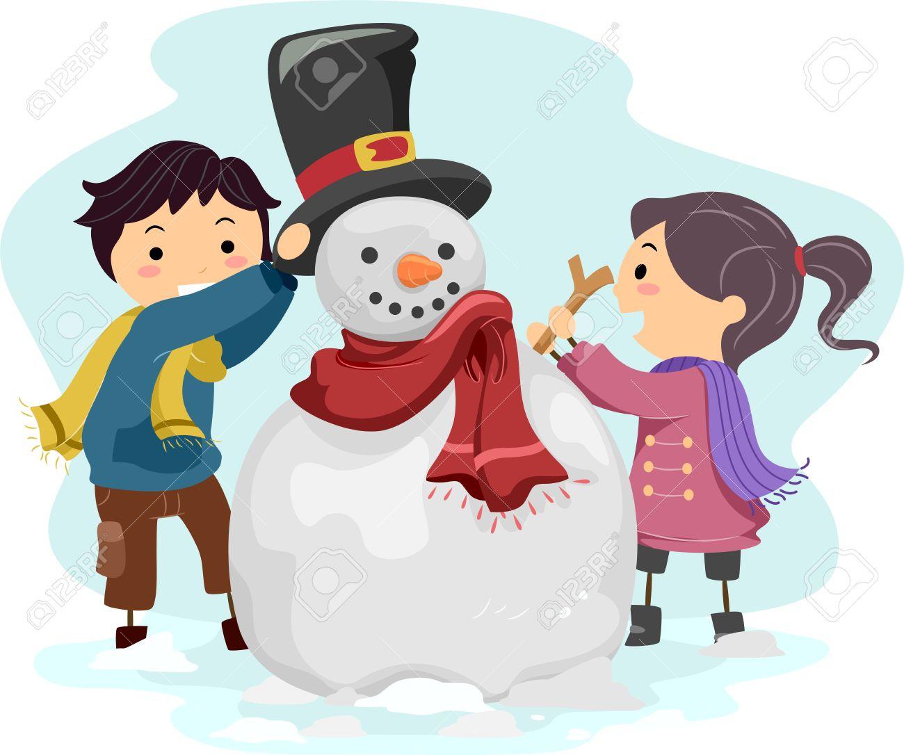 Illustration of Kids Making a Snowman Stock Photo - 11467608