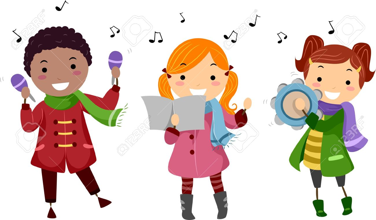 Illustration Of Kids Singing Christmas Carols Stock Photo, Picture ...