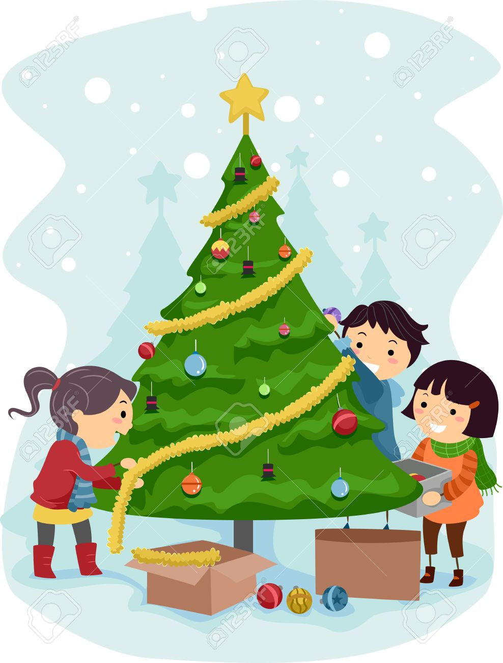 Illustration Of Kids Decorating A Christmas Tree Stock Photo Picture And Royalty Free Image Image 11467622 No, kids it' not just easier to pop in the dvd and watch it whenever you want. illustration of kids decorating a christmas tree