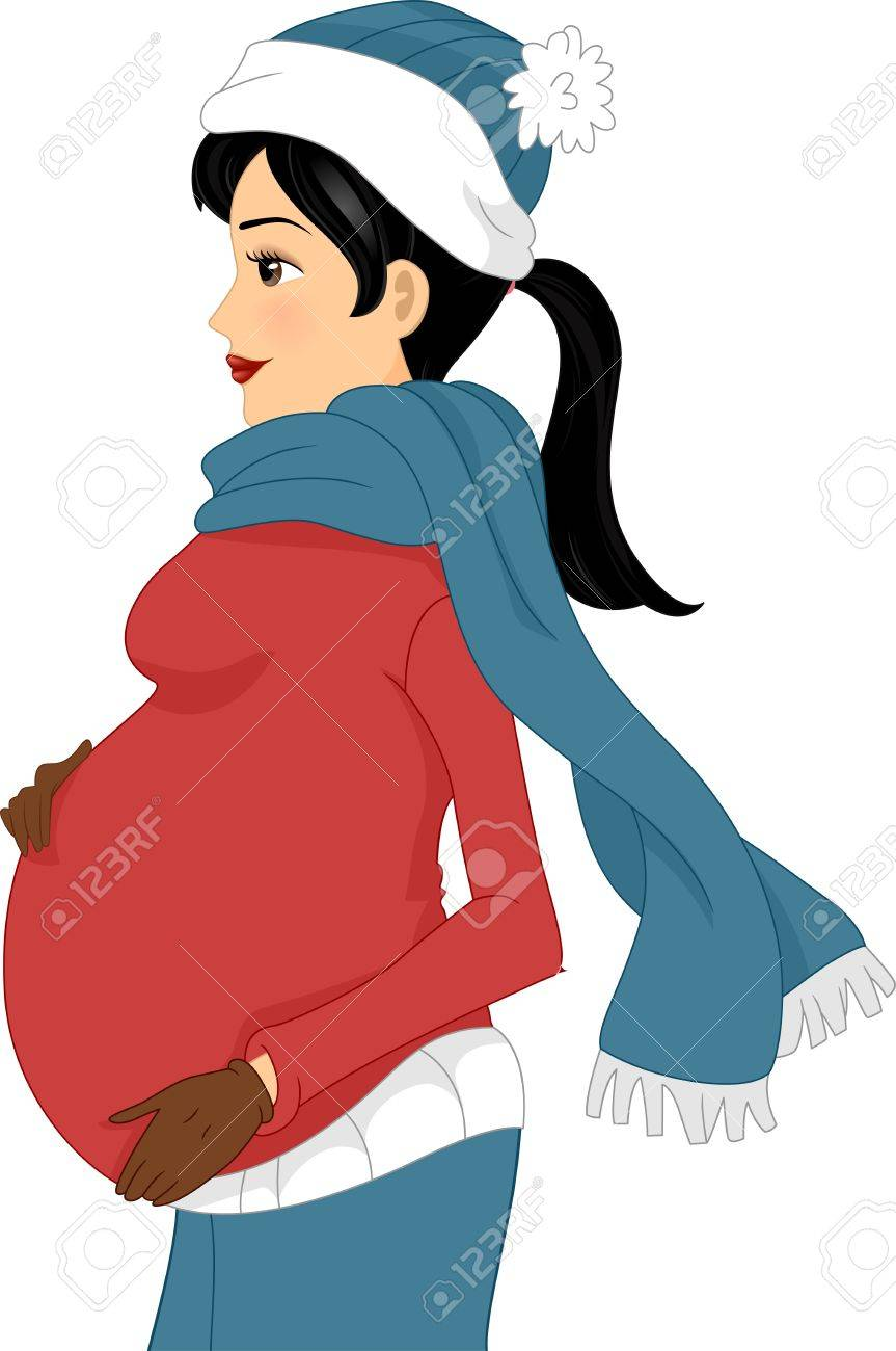 7ce6028645 Illustration Of A Pregnant Girl Wearing Winter Clothes Stock Photo ...