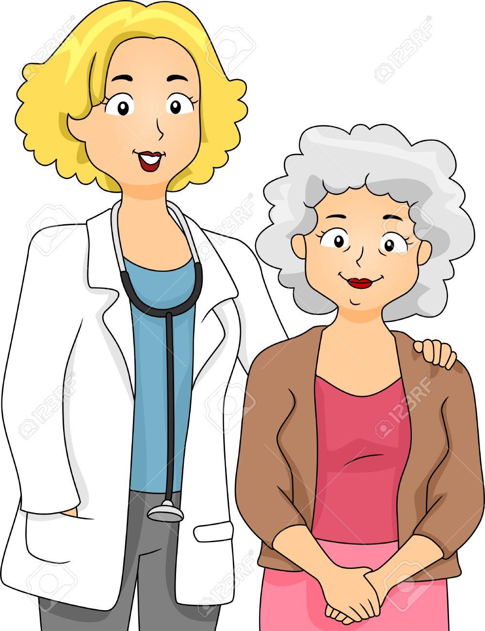 Ilustración De Un Médico A Su Lado Del Paciente