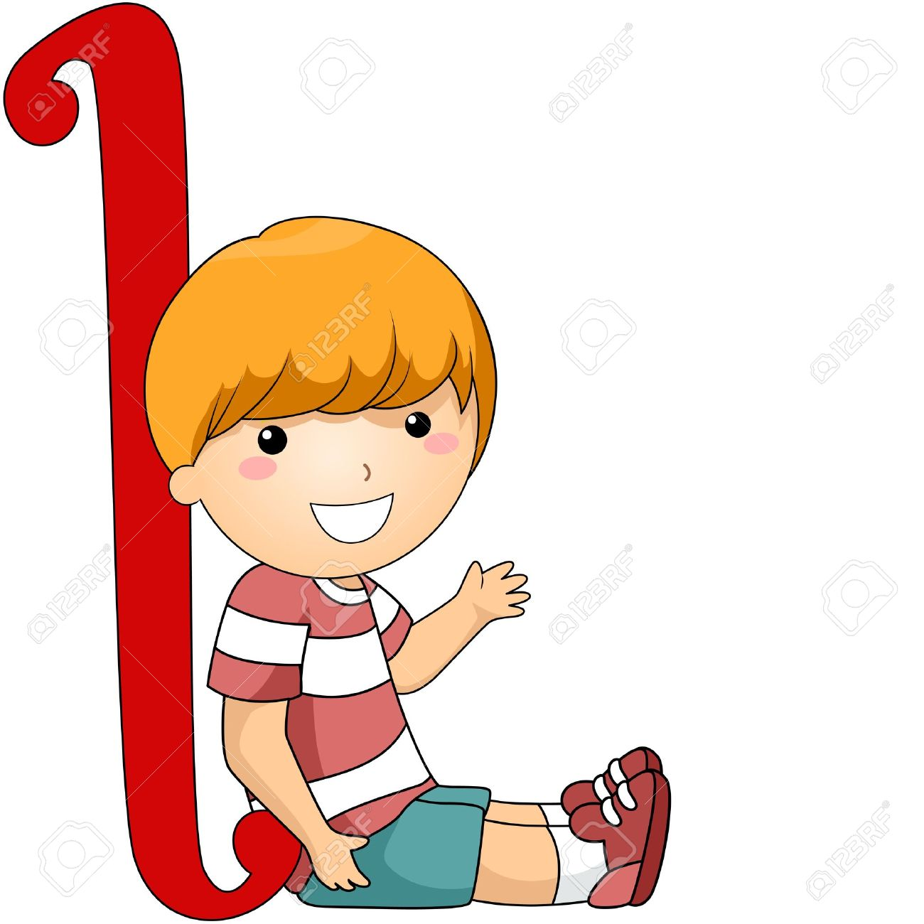 illustration of a kid leaning against a letter l stock photo