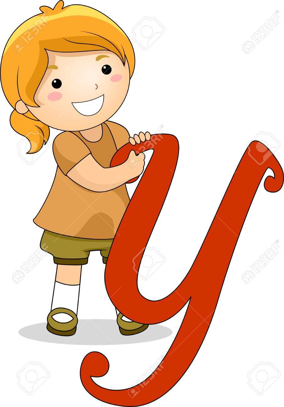 illustration of a kid standing behind a letter y stock photo