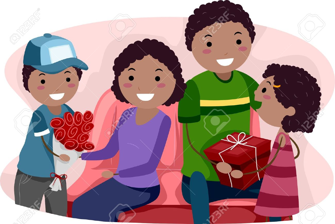illustration of kids giving their parents valentine u0027s gifts stock