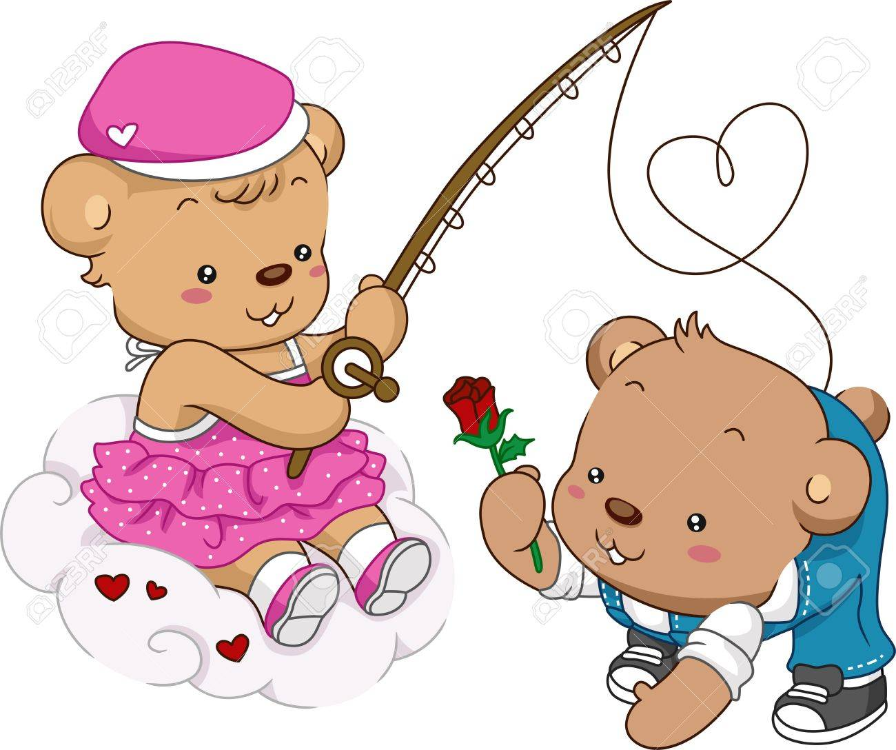 Illustration of Female Teddy Bear Out Fishing Stock Photo - 12107161