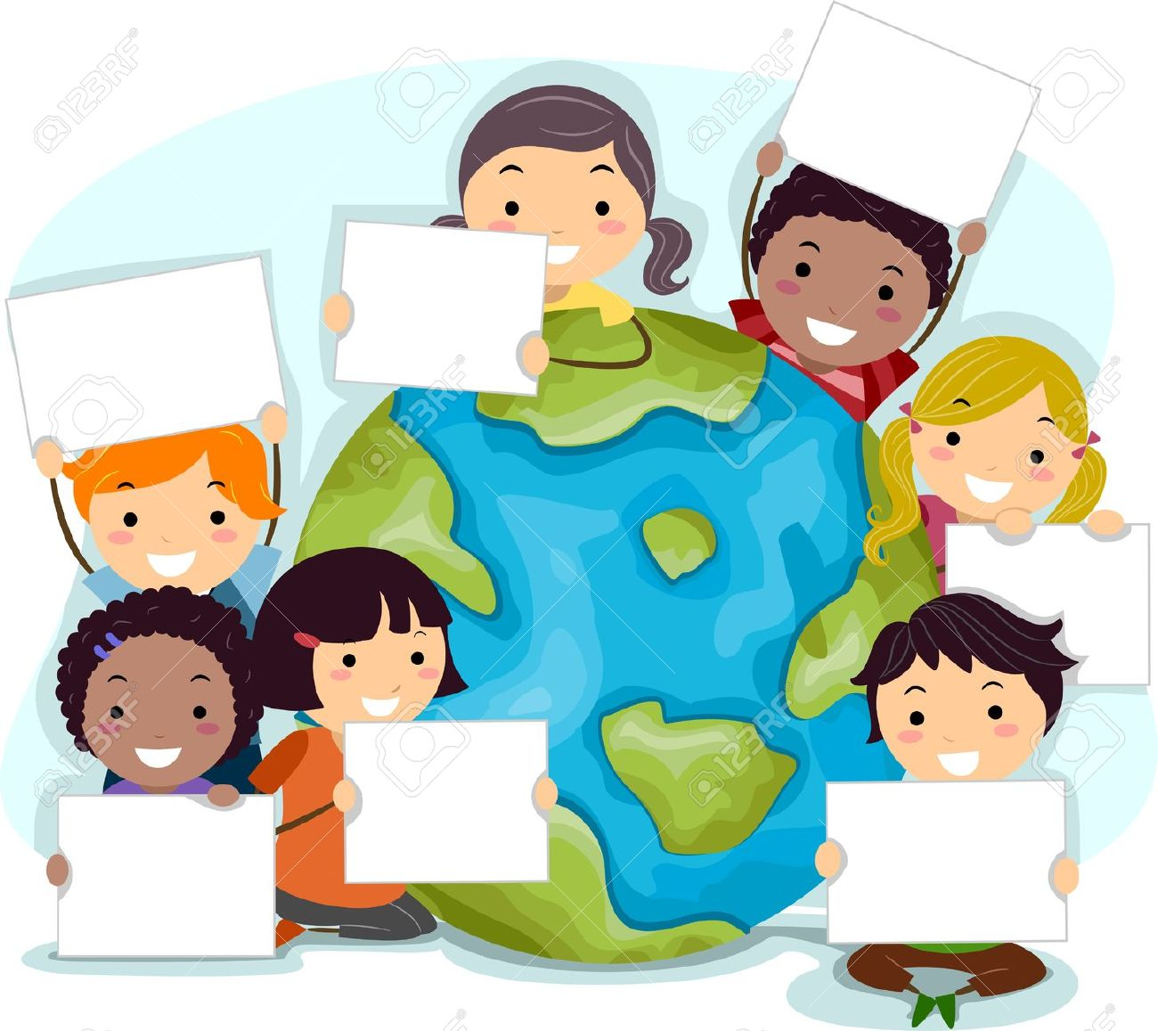 Illustration Of Kids Celebrating Earth Day Stock Photo, Picture ...