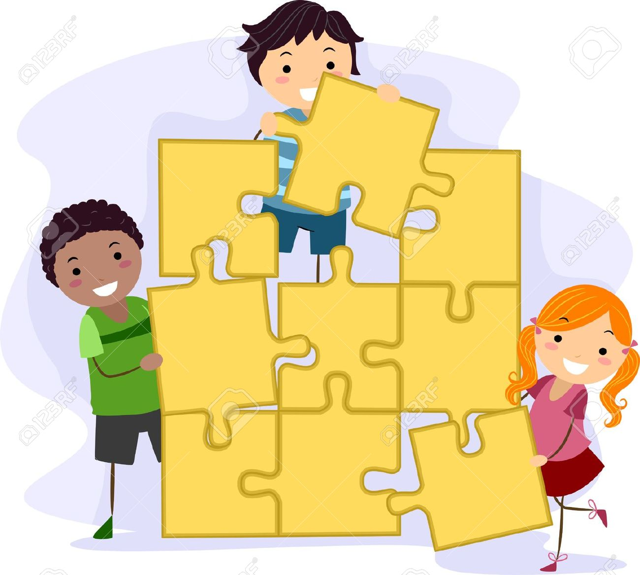 illustration of kids solving a giant jigsaw puzzle stock photo