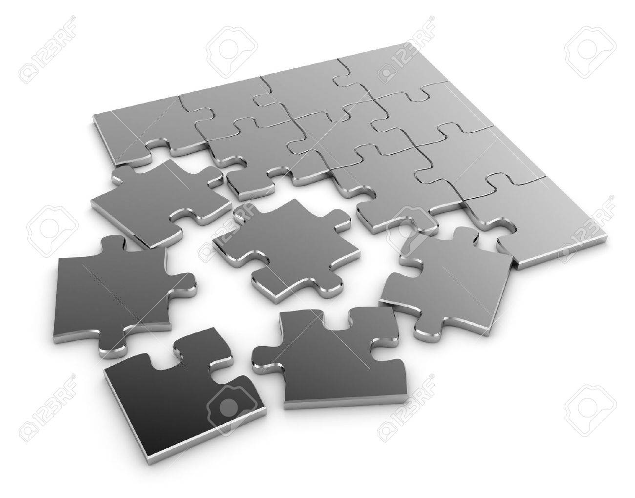 3d illustration of a jigsaw puzzle stock photo picture and