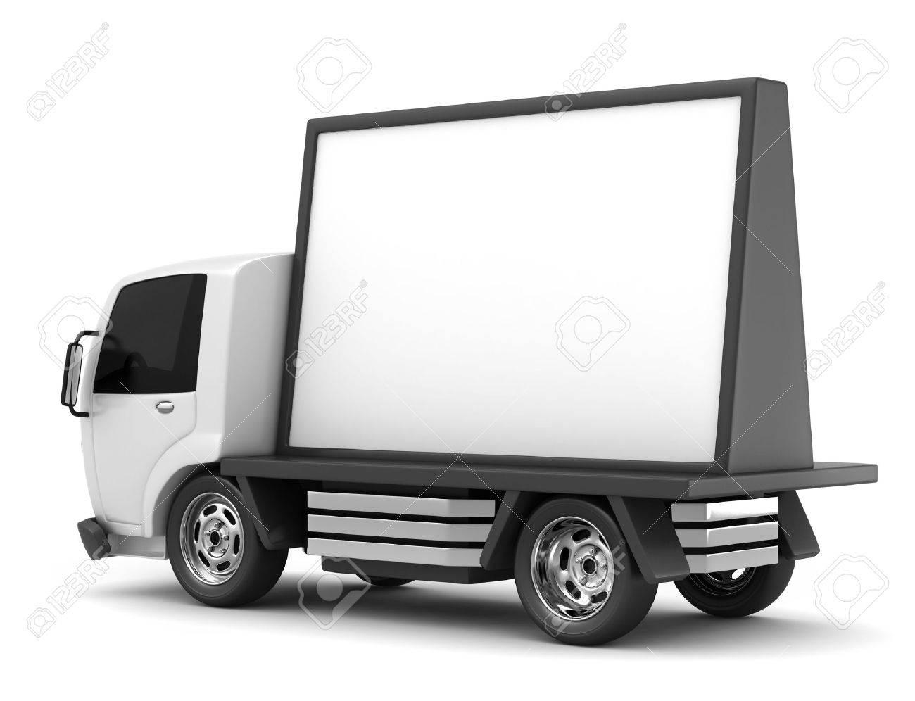 3D Illustration Of A Mobile Billboard Stock