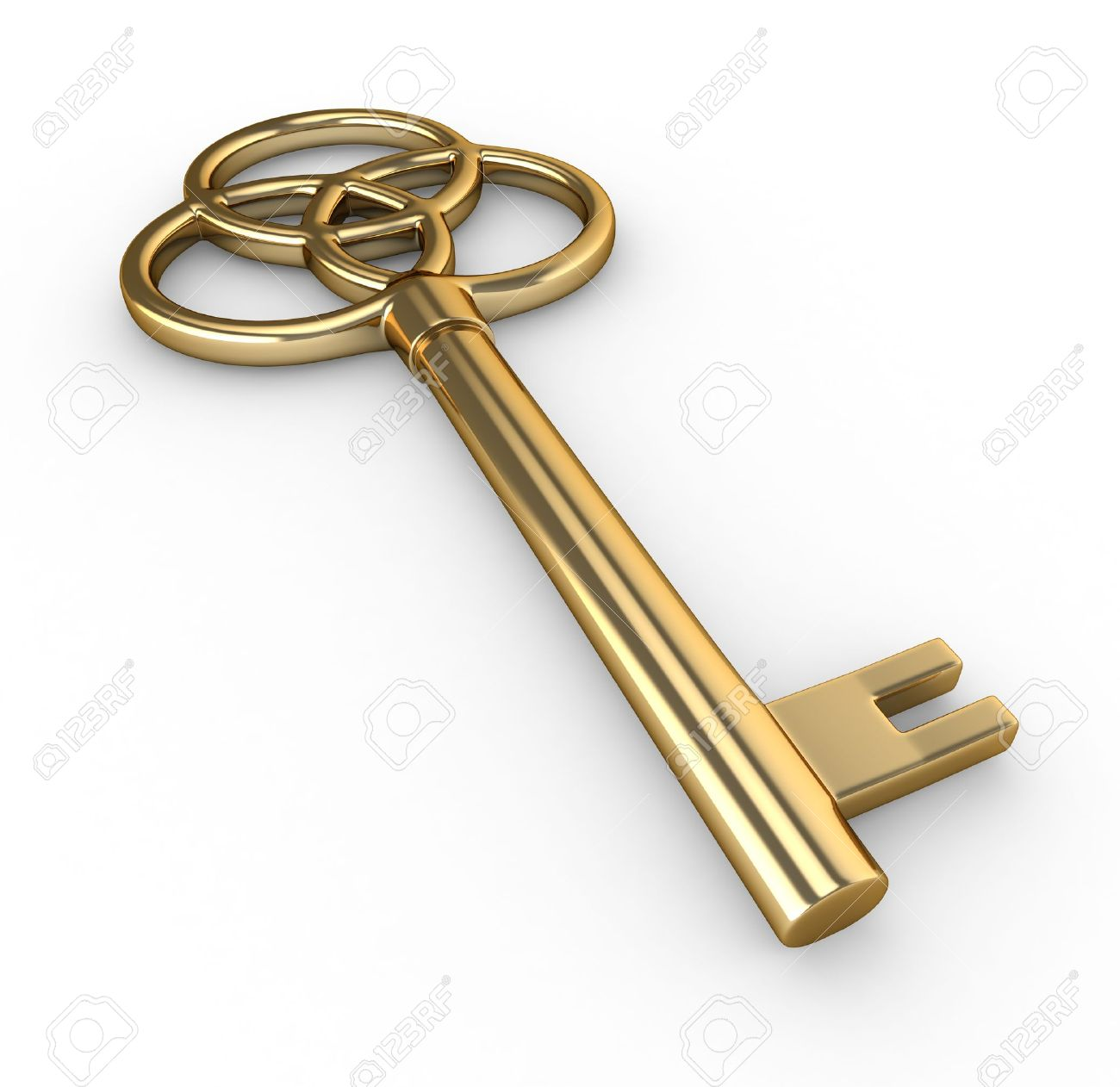 With golden key 3d rendering plan concept with golden key 3d rendering - Gold Key 3d Illustration Of A Gold Key
